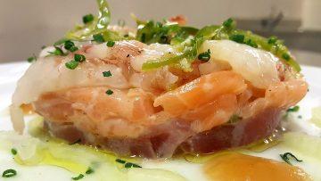 ceviche di tonno salmone e gamberi con gelatina di cedro 1