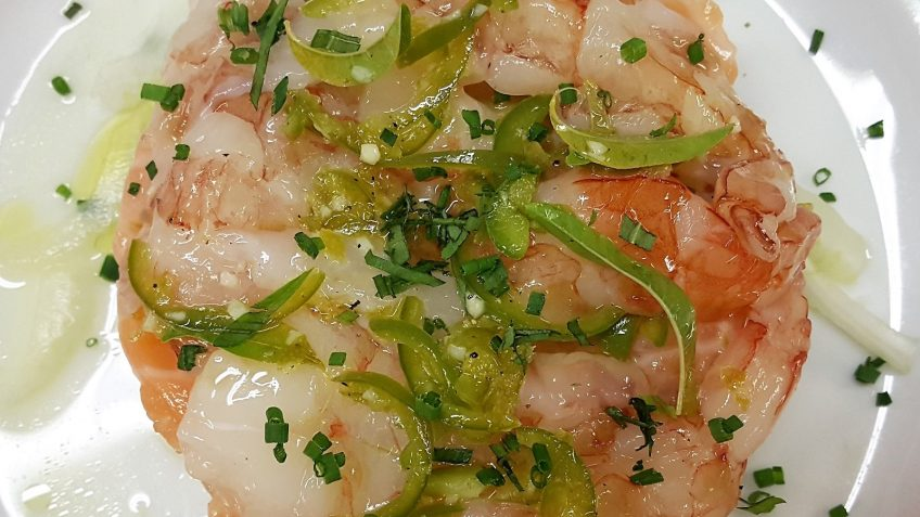 ceviche di tonno, salmone e gamneri con gelatina di cedro 2