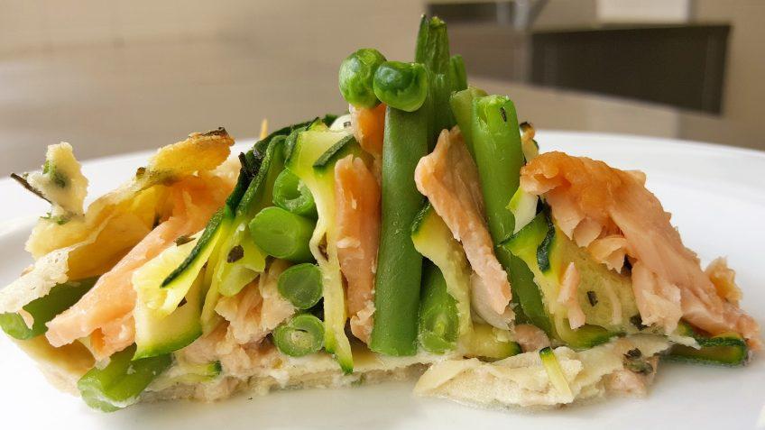 quiche-crepe di ortaggi e legumi freschi al salmone 7