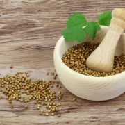 Coriander seeds in mortar and fresh coriander leaves